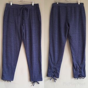Me to We | Blue Lace Cuffed Heathered Joggers L